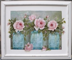 Mixed Media/Original Painting - Mason Jars & Pink Roses - Postage is included Australia wide