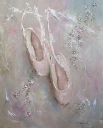 Original Painting on Canvas - Vintage Ballet Shoes - Postage is included Australia Wide
