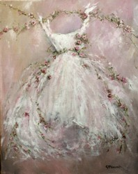 Original Painting on Canvas - Rose Tutu - Postage is included Australia Wide