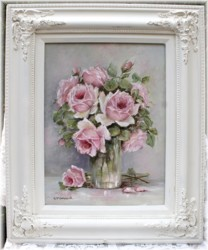 Original Painting - Roses in a Glass Vase - Postage is included Australia Wide