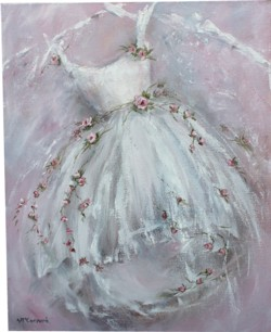 Original Painting on Canvas - Tutu with Roses - Sold out
