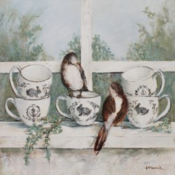 Original Painting on Panel - French Birds on the Window Sill - Postage included Australia wide