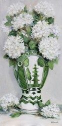 Original Painting on Panel - Hydrangeas In Green & White - free postage Australia wide