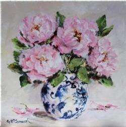Original Painting on Canvas - Peonies - 20 x 20cm series