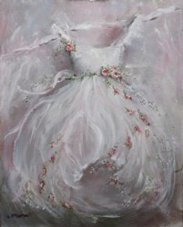Original Painting on Canvas - Gown and Roses - Postage is included Australia Wide