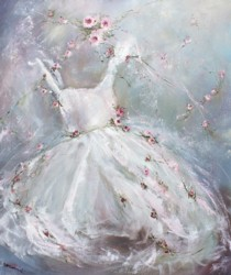 Original Painting on Canvas - Tutu and floating Roses - Postage is included Australia Wide