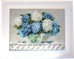 Original Painting - Hydrangeas on Trellis - postage is included Australia wide
