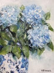 Original Painting on Canvas - Blue & White with Hydrangeas - 23 x 30cm