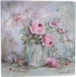 Original Painting on Canvas - Glass Vase of Roses - Postage is included Australia Wide