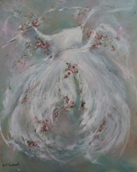Original Painting on Canvas - Gown and Flowers - Postage is included Australia Wide