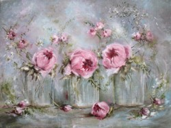 Original Painting on Canvas - Glass Vases and Flowers - Postage is included Australia Wide