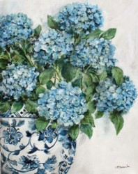 Original Painting on Panel - Garden Hydrangeas in Blue & White - Postage is included Australia Wide