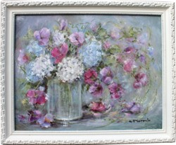 Original Painting - Hydrangeas & Flowers in a Jar - Postage is included Australia Wide