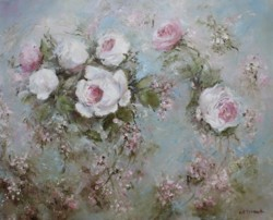 Original Painting on Canvas - Flowing Flowers - Postage is included Australia Wide