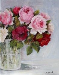 Original Painting on Canvas - New Years Roses - 36 x 28 cm