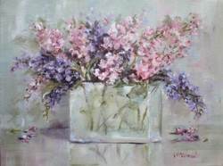 Original Painting on Canvas - Stocks in a Glass Vase - Postage is included Australia Wide