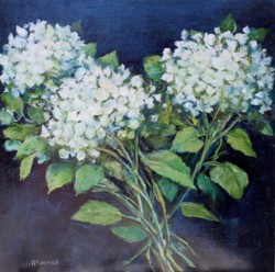 Original Painting on Panel - Hydrangeas on Dark background - SOLD