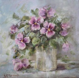 Original Painting on Canvas - Pansies in a Jar - Postage is included Australia Wide