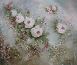 Original Painting on Canvas - Romantic Roses - Postage is included Australia Wide