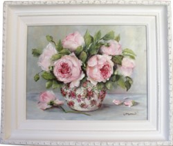 Original Painting - Roses in a Chintz Vase - Postage is included in the price Australia wide