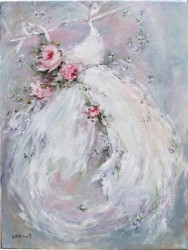 Original Painting on Canvas - Dancing Gown & Roses - Postage is included Australia Wide