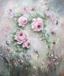 Original Painting on Canvas - Pink Roses in the Wind - Postage is included Australia Wide
