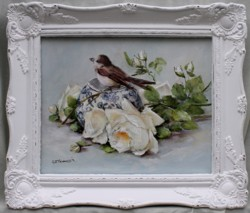 Original Painting - Bird & Roses - Postage is included in the price Australia wide