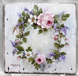Original Painting on an Old Timber Panel - Flowers - special price shipping included to the UK