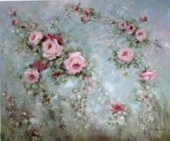 Original Painting on Canvas - Floating Romantic Roses - Postage is included Australia Wide