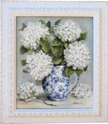 Original Painting - White Autumn Hydrangeas - Postage is included in the price Australia wide