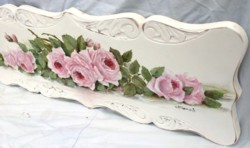 Original Painting on Carved Panel - Laying Roses