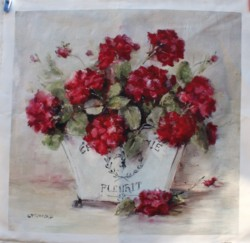 Fabric print - Geraniums in a French Pot - Postage is included Australia Wide