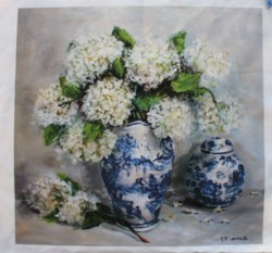 Fabric print - Blue & White Collection with Hydrangeas - Postage is included Australia Wide
