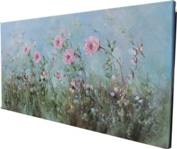 Original Painting on Canvas - Roses and Wild Flowers - Postage is included Australia Wide