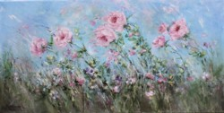 Original Painting on Canvas - Roses and Wild Flowers in the Wind - Postage is included Australia Wide