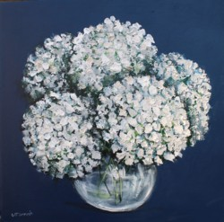 Original Painting on Panel - White Hydrangeas on blue - Sold