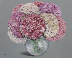 Original Painting on Panel - Shades of Pink Hydrangeas - postage included Australia wide