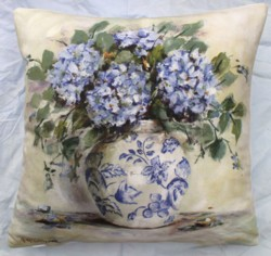 Cushion cover - Blue Hydrangeas and China - Free Postage Australia Wide