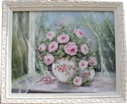 Original Painting - Roses in The Window - Postage is included Australia Wide