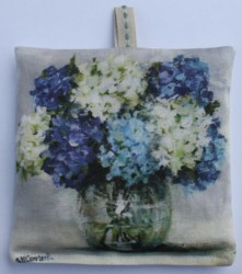 Lavender Sachet - Hydrangeas In a Glass Vase - Postage is included Australia wide