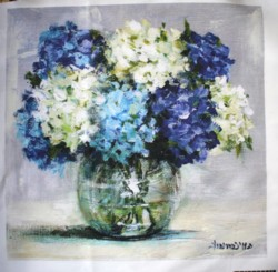 Fabric print - Assorted Hydrangeas in a Glass Vase - Postage included Aus wide