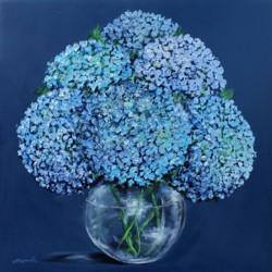 Original Painting on Panel - Blue Hydrangeas on Dark Blue -sold