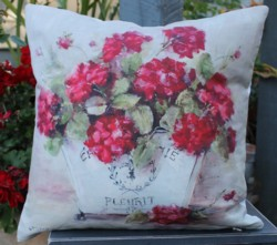 Cushion cover - Geraniums in a French Pot - Free Postage Australia Wide