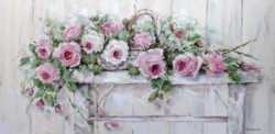Original Painting on Canvas - Roses on an Old Stool - Postage is included Australia Wide