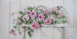 Original Painting on Canvas - Roses on a Rustic Stool - Postage is included Australia Wide