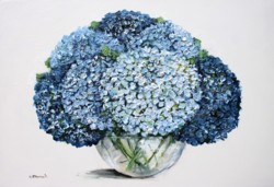Original Painting on Panel - Hydrangeas on White background