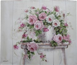 Original Painting on Canvas - Roses in an Old Tin Pail - Postage is included Australia Wide