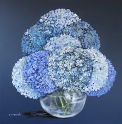 Original Painting on Panel - Hydrangeas on Dark blue - Postage included Australia wide