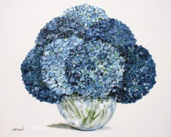Original Painting on Panel - Shades of Blue Hydrangeas on white - postage included Aus wide