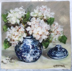 Cushion cover - Blue & White with Hydrangeas - sold out